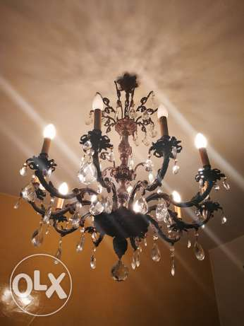3 chandeliers bronze and crystal.