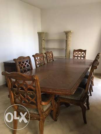 Dining Room Set from USA (Table and 8 Chairs) - طاولة سفرة مع خزانة