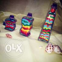 Colorful sand bottles