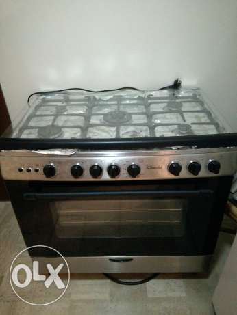 Open burner with oven stainless steel