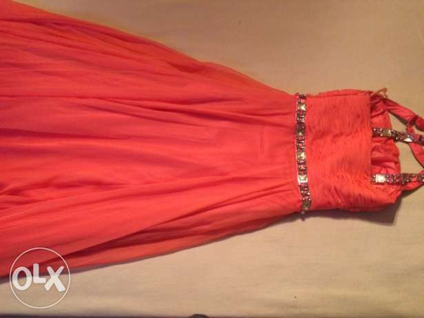 salmon pink, fancy dress, size small.