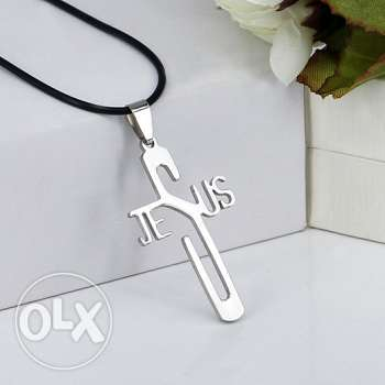 Unisex 316L stainless steel Jesus cross pendant leather chain necklace