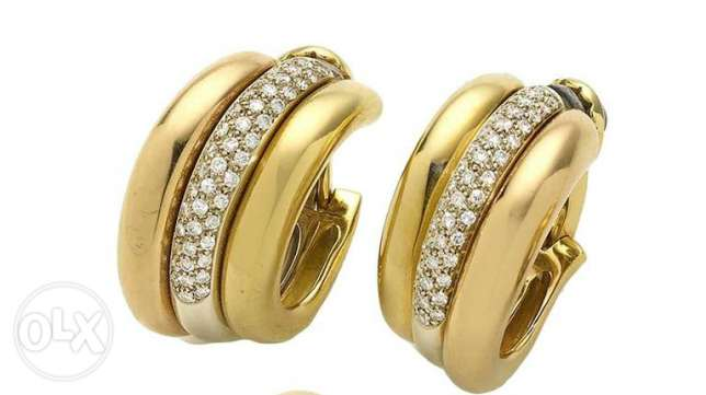 An 18k Gold original Cartier earrings راس  بيروت -  2