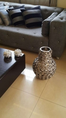 Silver Flower vase and 2 candles holder