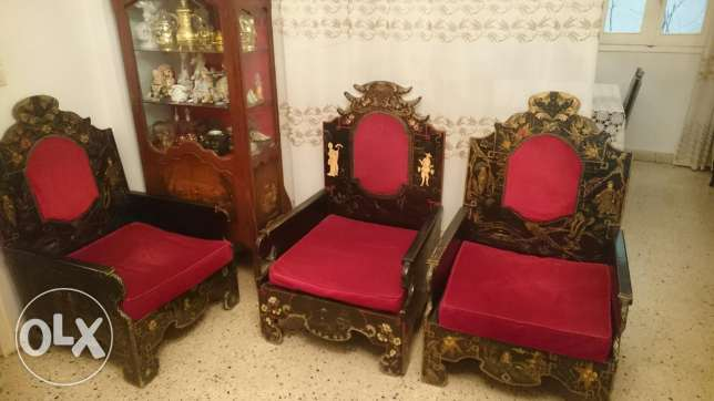 Antique Salon 5 single seat sofas with one 3 seats and three tables فردان -  4