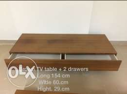 Brown TV table + 2 drawers