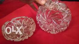 Two Bohimas Crystal ashtrays, very old a antique, heavy-duty still new