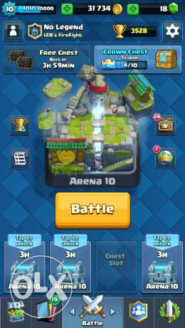 Selling clash royale account with arena 10 and all cards found