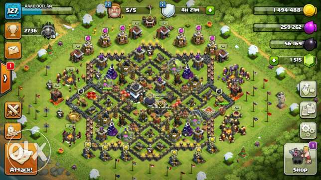 Clash of clans twon hall 9 all max with troops