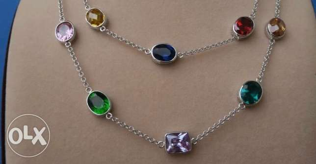 silver necklace filled with colored stones منصورية -  1