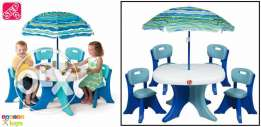 brand new step2 table and 4 chairs and umbrella for only 180$