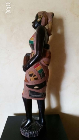 statue wood & dress painting 70 cm