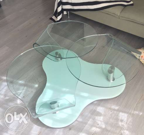 Glass table with chrome بعبدا -  1