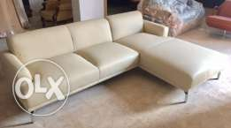 Beige leather corner