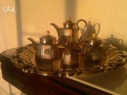 Antique silver plate with tea pots sets good shape