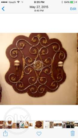 2 stylish leather and metal wall panels
