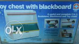 Wooden toy chest with black board