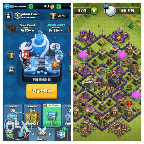 Acount clash of clans and royale