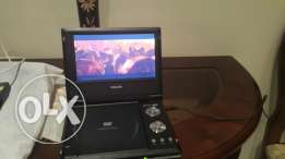 DVD Player Philips with remote, bag, car charger, and Dora Movie