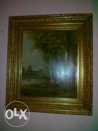 Antique big Oil Paintings, Paires, 1x0.9m, from 1850-80, wood Cadre,