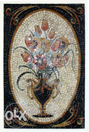 Mosaic all marble, hand made Floral painting.