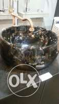 Washbasin black and gold 38 cm round chinese