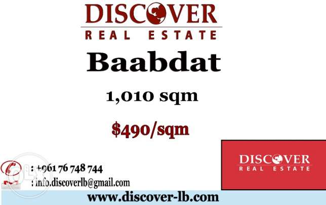 1,010 sqm Land for sale in Baabdat