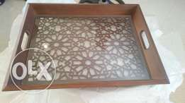 Wooden handmade tray with glass pane from Artizana صينية خشب شغل يد
