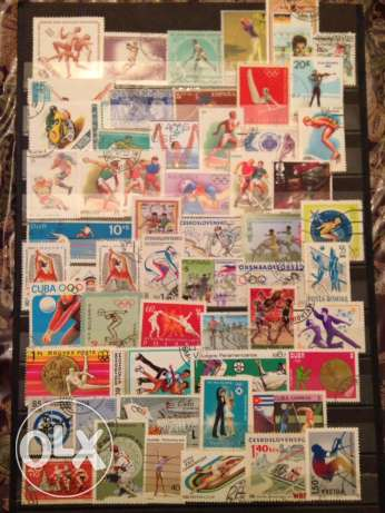70 used sports stamps