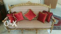 2 chairs and 1 chaise long French style furniture صالون موديل فرنسي