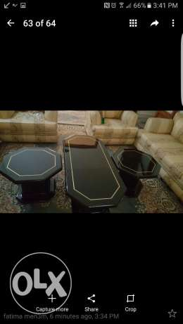 3 tables black and gold