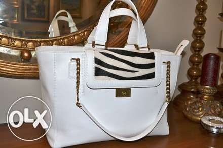 Jimmy Choo bag Camille Zebra Leather Structured White With Black