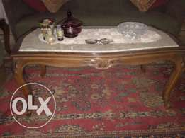 Chic hard wood marble top coffee table with matching 2 side tables