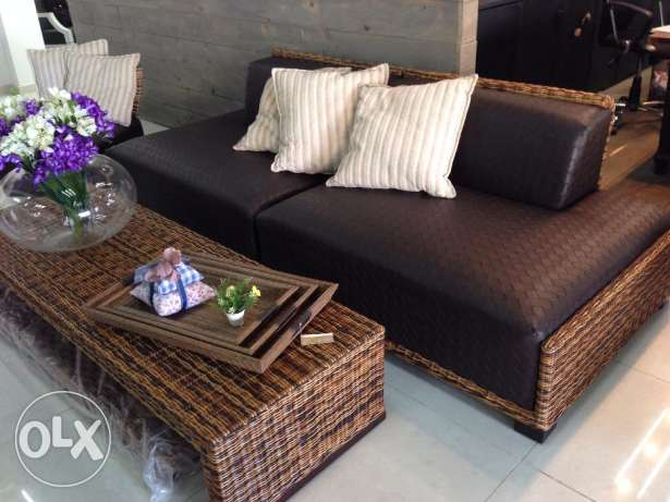 Bamboo sofa + table (Zouk Mosbeh)