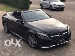 Mercedes C180 Cabriolet 2017 AMG-LINE, black on black, German !!!