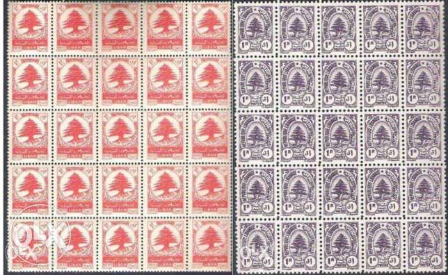 2 MNH Blocks of 25 Stamps Cedars 1 piastre Lebanon Liban 1946 & 1950