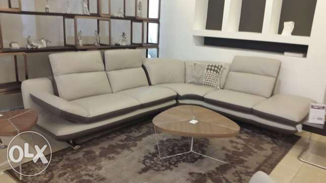 L shape Sofa with 2 wood and plexi tables