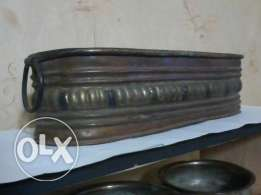 Pot ovale for Chemney, 60-100 years old, heavy copper decorated, 45cm,