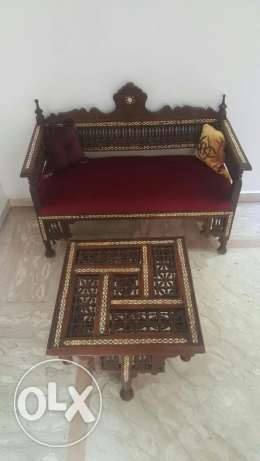 Arabesque antique bench and table