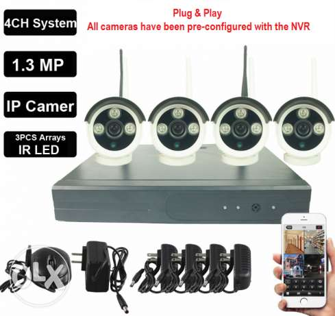 4CH Plug And Play Wireless NVR CCTV System IP Camera Onvif