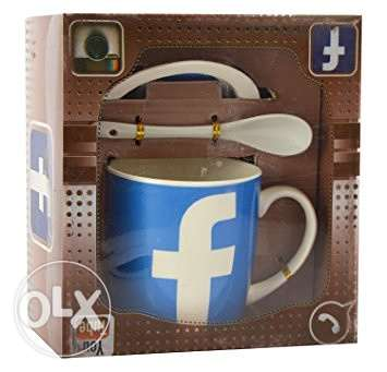 Facebook Ceramic Coffee Mug Set with Spoon and Saucer