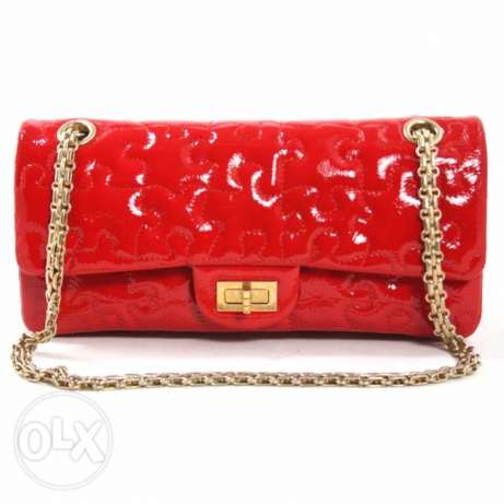 Chanel Red Patent Leather Puzzle Reissue Double Flap authentic