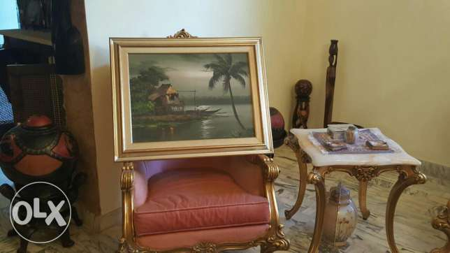 Oil painting with wooden frame