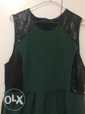 dark green dress + black leather size XL like new dress