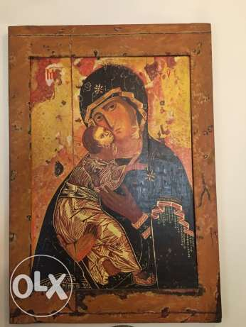 Oil on antique wood ICON reproduction- 12th century- Rublev's Icon