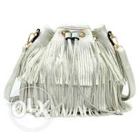 Silver Leather Tassel Handbag