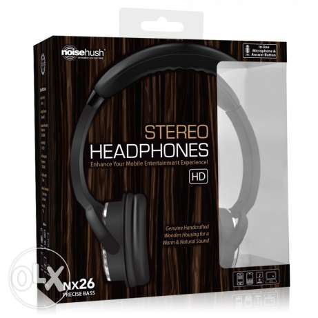 NoiseHush NX26 3.5mm Stereo Headphones with In-line Mic - Wood