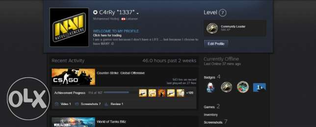 Steam Account Has CS:GO & RB6 with a Skin Gift. حارة حريك -  1