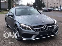 Mercedes C180 coupe AMG-LINE 2016 grey on black, German import, Fullll