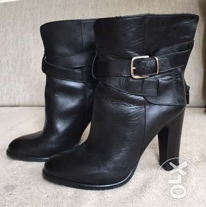 Black leather women boots - size:37 المرفأ -  2